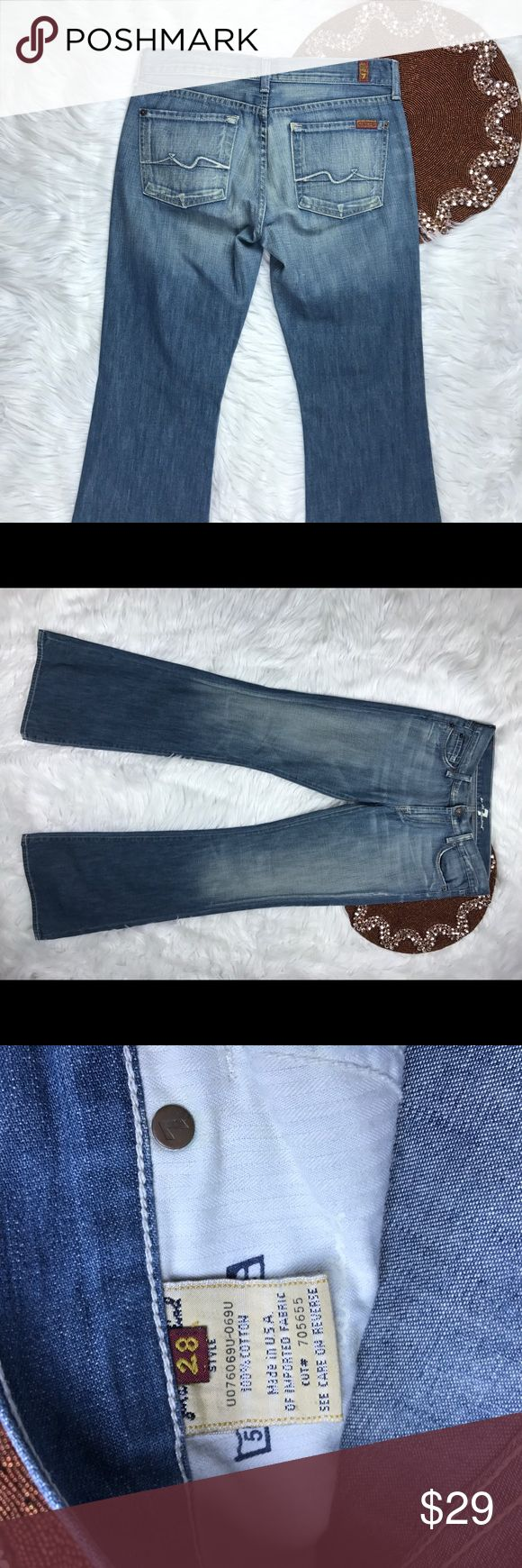 7 For All Mankind Women Jeans Size 28 distressed -Great item ,  -please see pictures for more information   -There are NO Major Flaws with this item. If you notice a flaw that we did not mention, please contact us first before leaving negative feedback. We are only human and may make a mistake once in a while.   From Smoke Free Home 7 For All Mankind Jeans Boot Cut