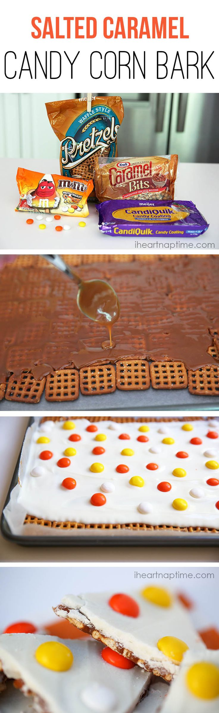 NO-BAKE salted caramel candy corn bark on iheartnaptime.com ...such an easy and delicious treat! #Halloween #recipes