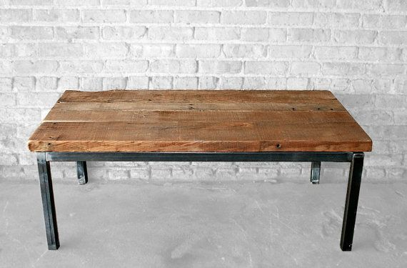 Reclaimed Wood and Metal Coffee Table - The Post Coffee Table