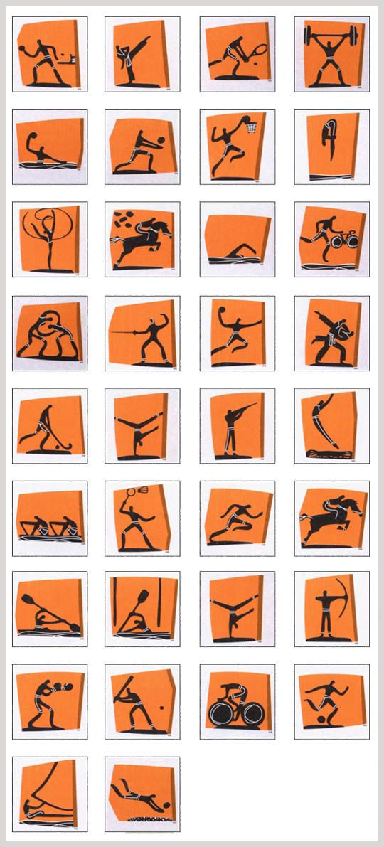 2004 Athens Pictograms - The ATHENS 2004 Sport pictograms were inspired by three elements of ancient Greek civilization. The simplicity of the human form is inspired by the Cycladic figurines. The Artistic expression of the Pictogram derives from the black-figure vases, where solid black shapes represent the human body and a single line defines the detailing of the form.