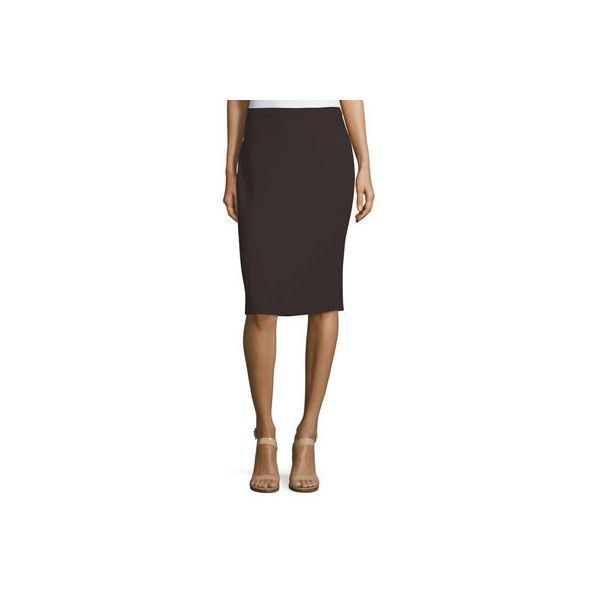 Eileen Fisher Washable Wool Crepe Pencil Skirt Petite (€50) ❤ liked on Polyvore featuring skirts, clove, eileen fisher skirts, knee high skirts, woolen skirt, pull on pencil skirt and petite pencil skirt