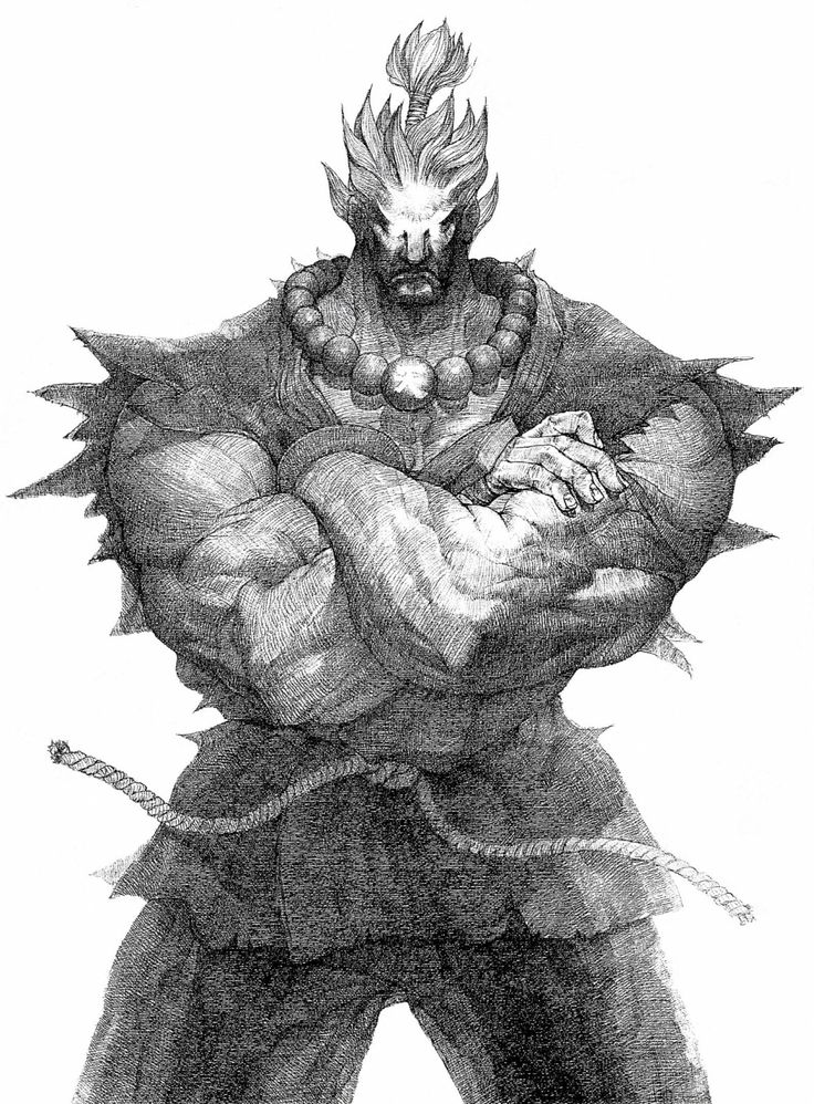 This illustration of game character Akuma has been made by Japanese artist CRMK as an advertisement for Super Street Fighter II Turbo. CRMK has been one of the most important artists for the Street Fighter series. Akuma means Devil or Demon in Japanese.