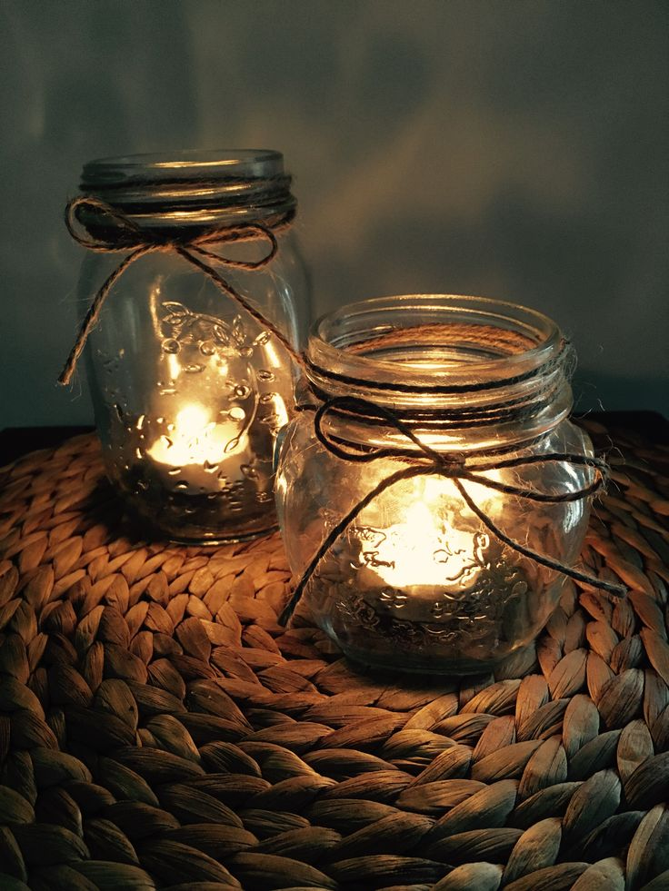 Cute mason jars with twine wrapped around the top. Simple and easy to make! Great for setting the mood. Made by Chrissy x Sassy Creative Design