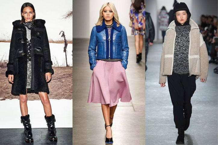 Shearling  For those sub-30-degree days, nothing keeps you warmer than a shearling coat. The trend, which we saw in fall 2014, was once again presented in a bevy of cuts: oversize coats, cropped jackets, nubby vests, and more.