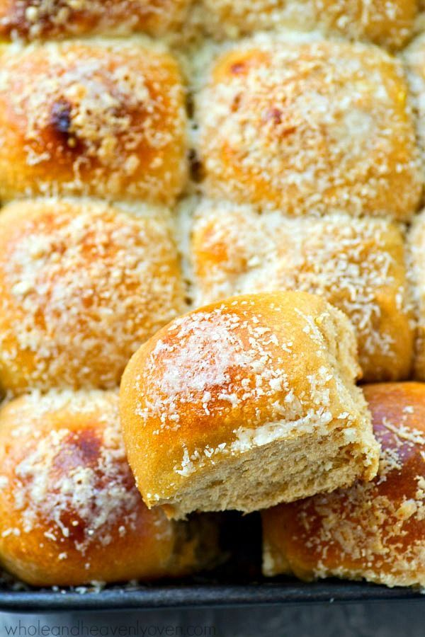 roasted garlic and Parmesan cheese give these pretty dinner rolls ...