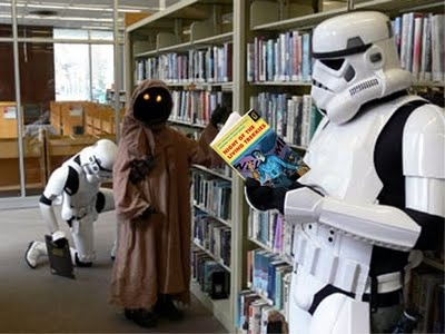 Stormtrooper reading: Libraries Cards, Death Stars, Storms Troopers, Stars War, New Book, Star Wars, Cheap Textbook, Reading Night, Starwars Reading