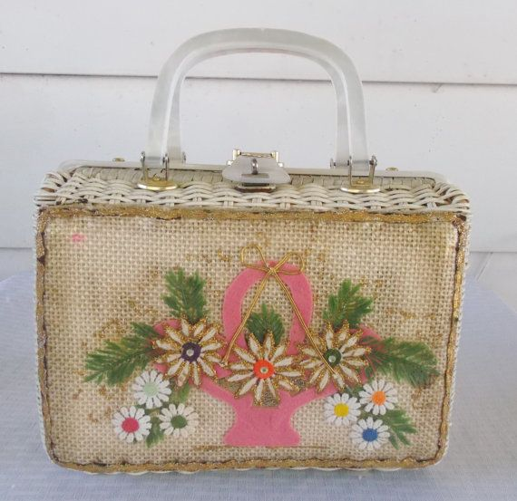 1960s Vintage Wicker And Lucite Purse With By