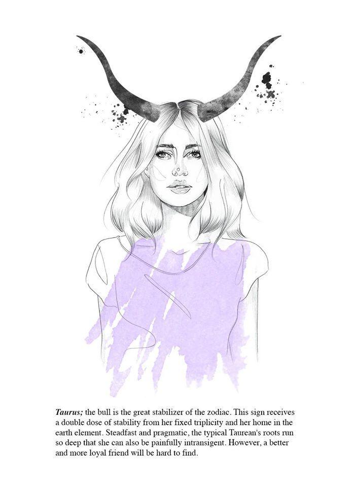 Taurus astrology illustration // portrait // fashion by tigermlk