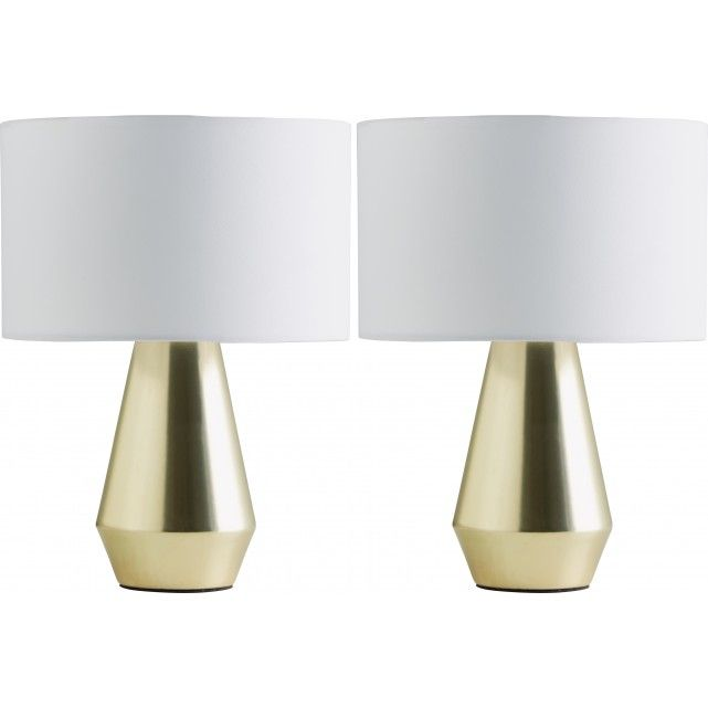 Designed in house and exclusive to Habitat, the Maya pair of gold touch lamps are complete with white cream fabric shades.[br]Perfect for bedside use, the lamps are the effortless way to give a bedroom a chic, coordinated look in an instant and are turned on, off and dimmed simply by touching their base.[br]Maya metal touch lamps are also available in silver with a choice of black, white or cream fabric shades.