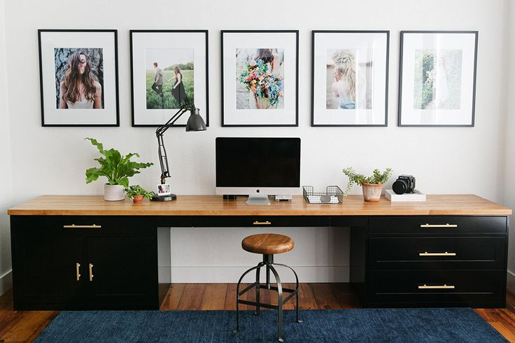 The desk was made from a giant piece of butcher-block wood.  New Construction with Curated Charm in Texas | Design*Sponge