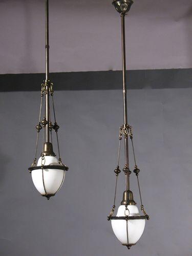 Netdrop Lighting Fixtures : Circa 1920, very nice two shade Antique Pendant Lighting fixtures with ...