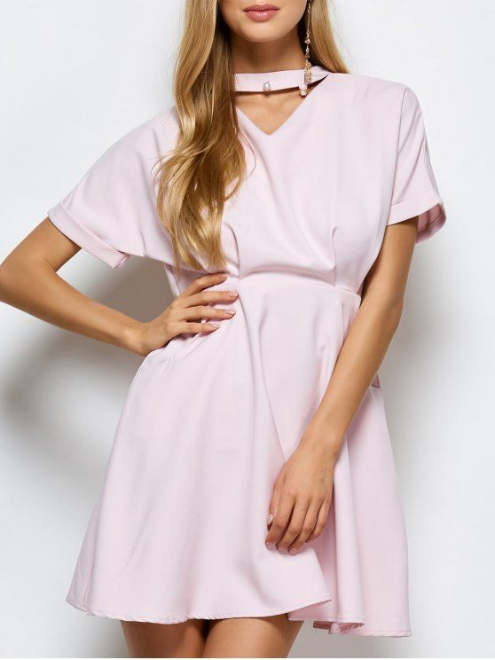 A Line Short Sleeve Choker Dress - PINK S