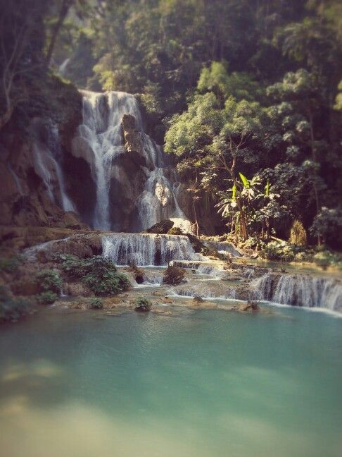 Laos, Luang Si waterfall.
