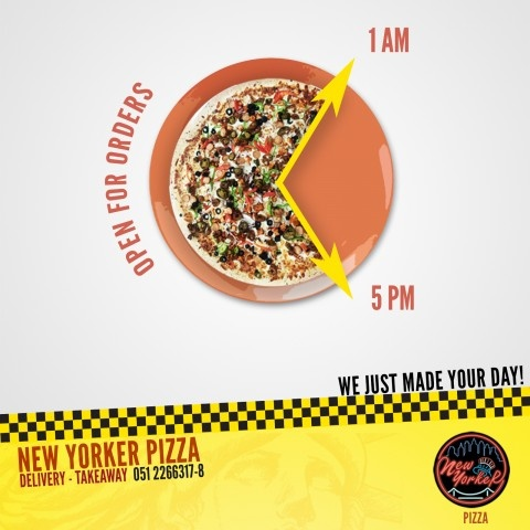 New Yorker Pizza   Branding Bees   New Yorker Pizza - Open for Orders   WE LOVE AD