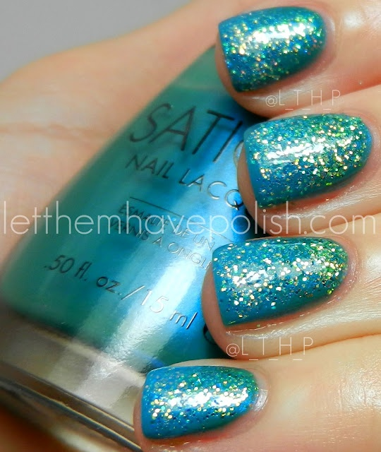 Let them have Polish!: Sation Glittery Nail Art - Miss Mc Teal and Board Girl Blue with loose glitter.