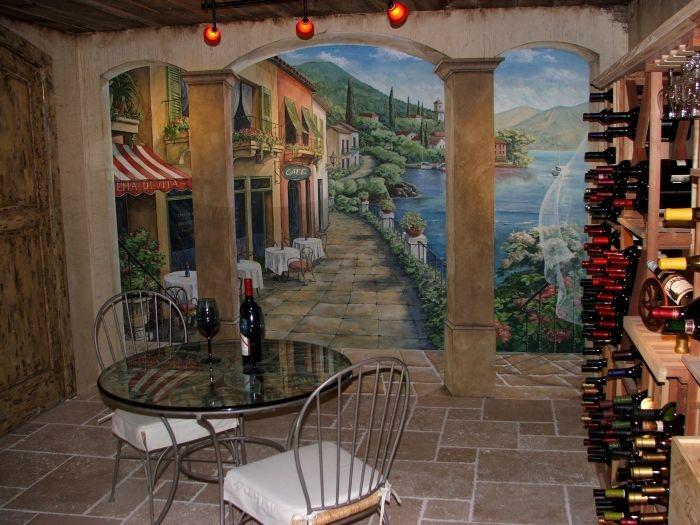 Seaside Wine Cellar mural idea as seen on .findamuralist.com & 613 best trompe lu0027oeil images on Pinterest | Ornaments Decorative ...