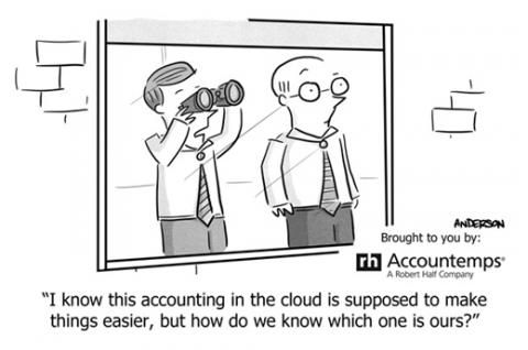 Accounting humor cartoon with man looking for the cloud