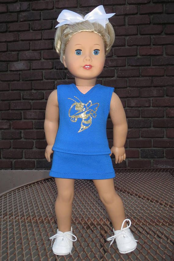 Royal Blue Hornets cheer set fits 18 doll. Perfect for the Hamilton Penney High Hornets!