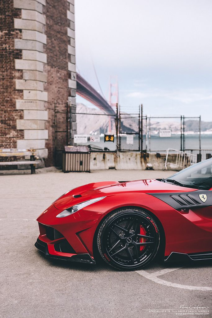 red ferrari f12 svr kit with brixton forged wr7 targa series forged wheels finished in satin black