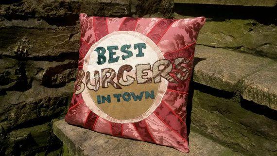 Best Burgers in Town Vintage Food Sign Cushion by ByeBrytshi