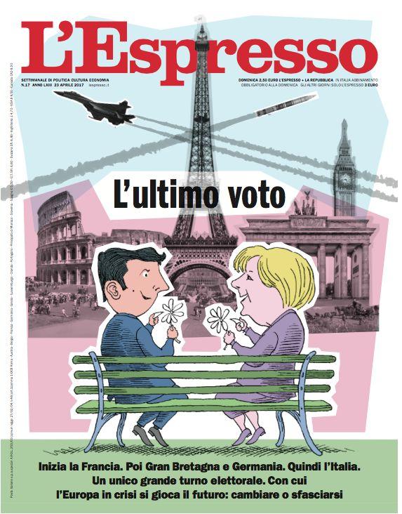 La copertina dell'Espresso in edicola da domenica 23 aprile