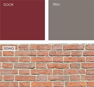 Red brick house. Cranberry for front door. Taos Taupe for trim.  Benjamin Moore paints.