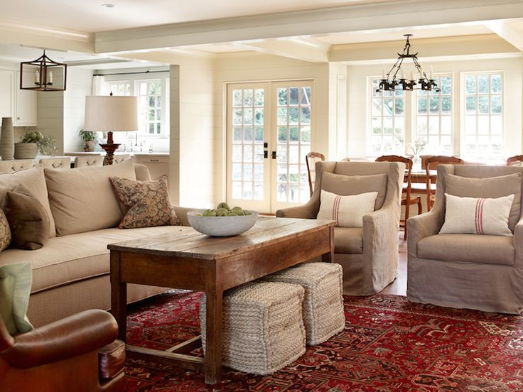 Open Plan Living Room w/ Camel Sofa, & Brown & Red Pillows, by Ella Scrase