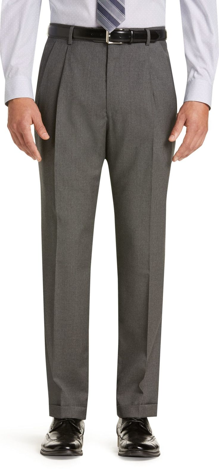 Signature Collection Traditional Fit Pleated Front Suit Separate Pants - Big & Tall CLEARANCE