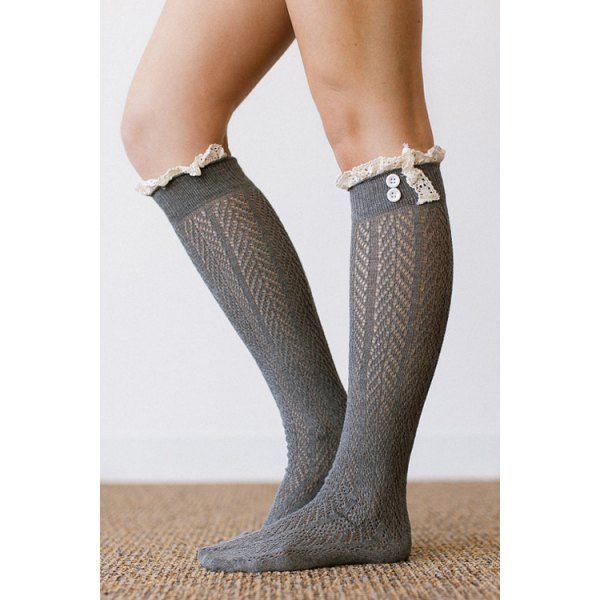 Pair of Chic Button and Lace Embellished Herringbone Stockings For Women #women, #men, #hats, #watches, #belts, #fashion, #style