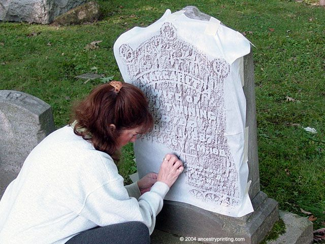 How to do headstone rubbing ~~ Always check to see if this is allowed. Many grave markers are too fragile from time and could be damaged