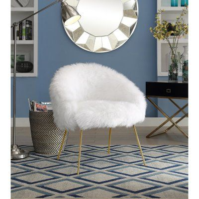 Inspired Home Norah Faux Fur Accent Chair Accent Chairs
