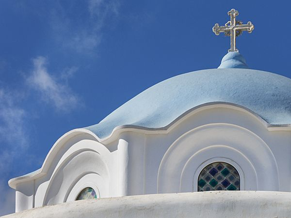 The dome and the sky, church of Evangelistria in Tinos island