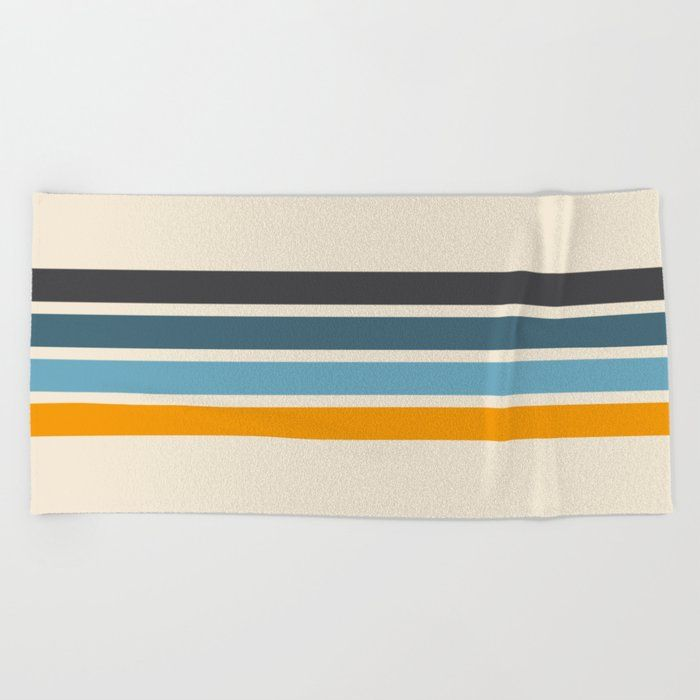 Vintage Retro Stripes Beach Towel By Alphaomega Beach Towel In