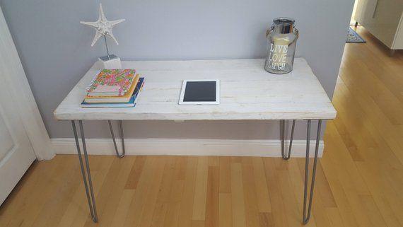 Sale Weathered White Desk Modern Rustic Desk Hairpin Legs White Office Desk Midcentury Weathered Beach Style Indus Modern Desk Rustic Desk White Desks
