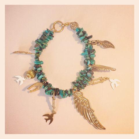 Turquoise Luck charm bracelet by Bird of Prey Jewellery NZ