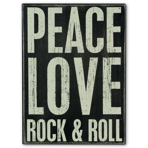 Find it at the Foundary - Peace/Rock and Roll - Box Sign