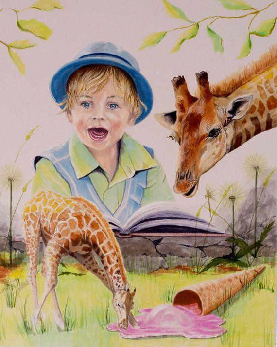 Fine art illustration, Storybook art, art for children, little boy art, giraffe picture, giraffe illustration, whimsical art, fantasy art,