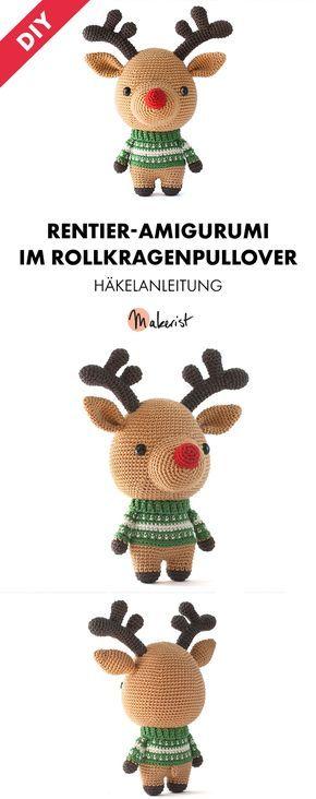 Gehäkeltes Rentier als Deko oder Spielzeug für Kinder, Rudolf Rentier - Häkelanleitung via Makerist.de #häkelnmitmakerist #häkeln #häkelnmachtglücklich #crochet #weihanchten #xmas #christmas #amigurumi #diy #rudolph #rentier #weihnachtsmann #kinder #spielzeug #dekoration