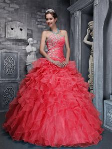 Red Sweetheart Quinces Dresses Beading with Appliques and Ruffles