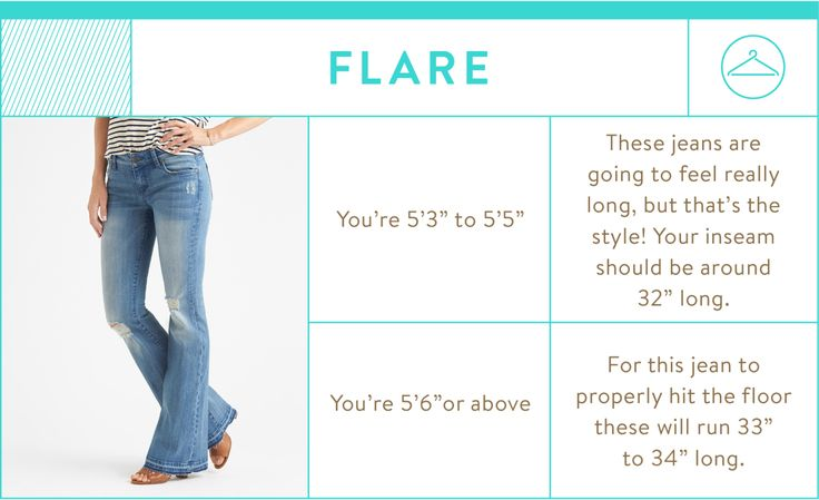 flare jean inseam chart - flare jean inseam by height