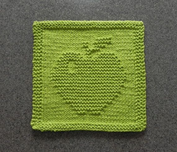 APPLE Knit Dishcloth or Wash Cloth  Lime Green by AuntSusansCloset, $7.00