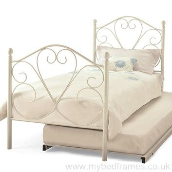 Isabelle #white metal #bed frame with #guest bed