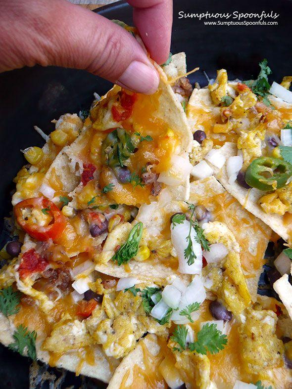 Breakfast Nachos Supreme ~ Sumptuous Spoonfuls #fun #Mexican #breakfast #recipe