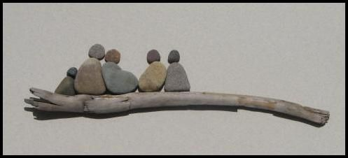 Driftwood and Pebble Family - arrange in a shadow box or glue together and hang on wall or sit on shelf.