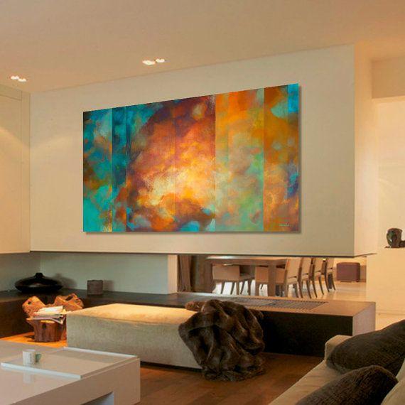 Peinture abstraite Turquoise bleu vert orange peinture par Artoosh