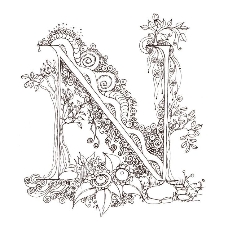 Monogram, Initial, Colour-Me-In Illuminated Letters - N, original art  drawings by melanie j cook. $5.00, via Etsy.