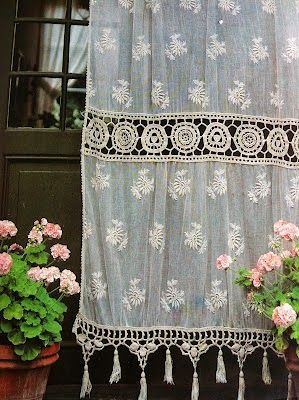 Lace Curtains made from joining a variety of laces, trims and delicate doilies Vintage French lace curtain Vintage crochet lace ...