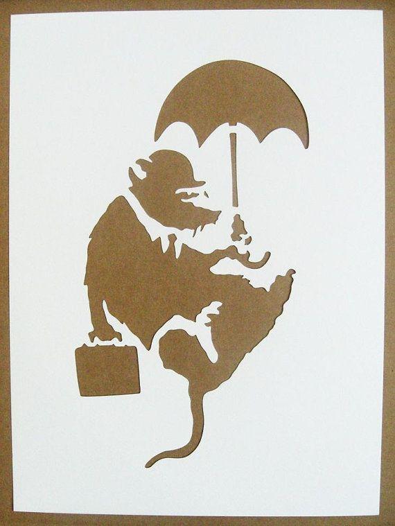 BANKSY Stencils Set Of Five Sawing Rat Radar Rat by existencil