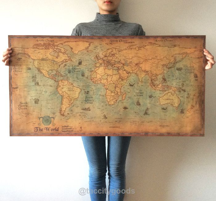 Large Vintage World Map Retro Wall Sticker - Home Decor - Tac City Goods Co - 1  Link in the bio