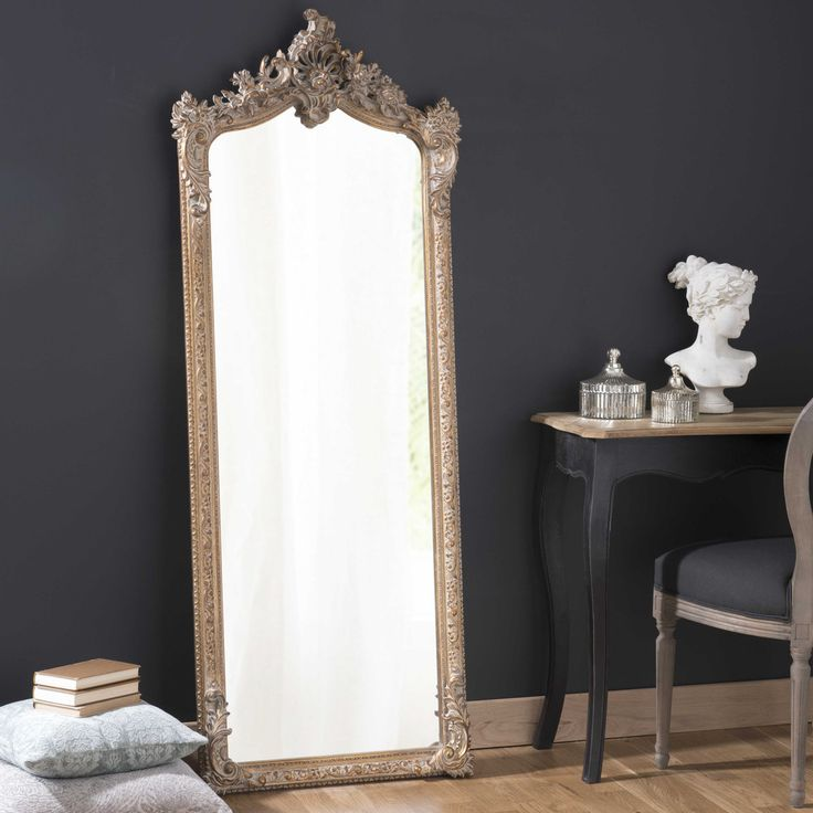 Maisons du Monde | 'Conservatoire' Miroir psyché en bois et résine dore H 168cm ...